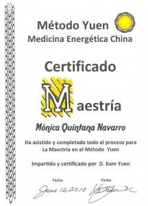 Diploma acreditación de profesional certificado del Método Yuen para impartir cursos y hacer correcciones
