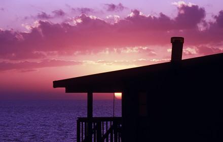 sunset dusk color bright condo house sun purple
